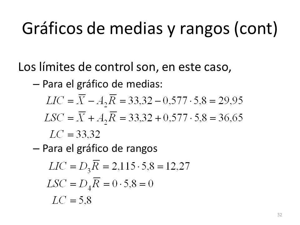 32 Gráficos de medias y rangos (cont) Los límites de control son, en este caso, – Para el gráfico de medias: – Para el gráfico de rangos