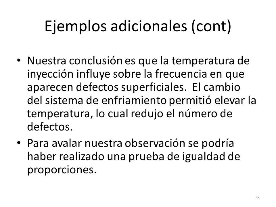78 Ejemplos adicionales (cont) Nuestra conclusión es que la temperatura de inyección influye sobre la frecuencia en que aparecen defectos superficiale