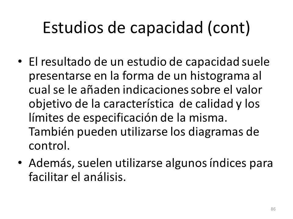 86 Estudios de capacidad (cont) El resultado de un estudio de capacidad suele presentarse en la forma de un histograma al cual se le añaden indicacion