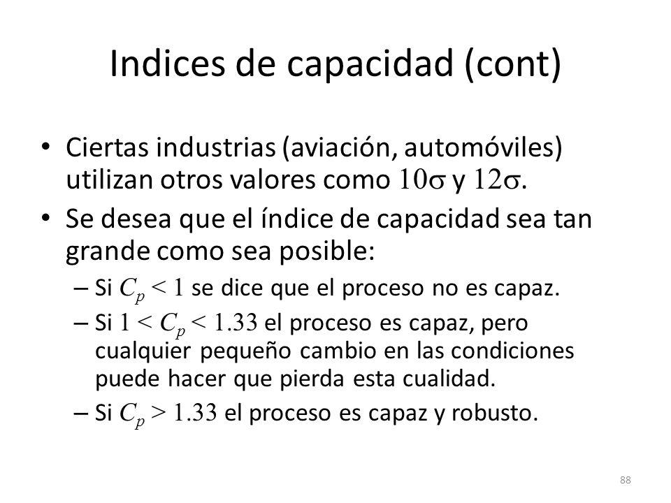 88 Indices de capacidad (cont) Ciertas industrias (aviación, automóviles) utilizan otros valores como 10 y 12. Se desea que el índice de capacidad sea