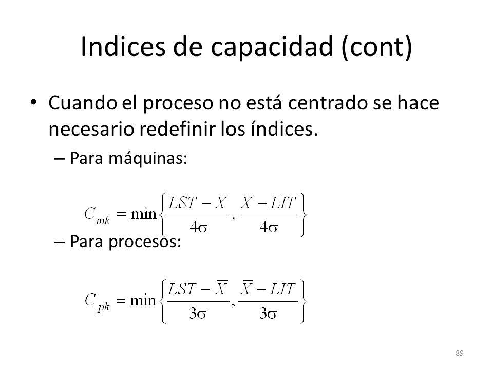 89 Indices de capacidad (cont) Cuando el proceso no está centrado se hace necesario redefinir los índices. – Para máquinas: – Para procesos: