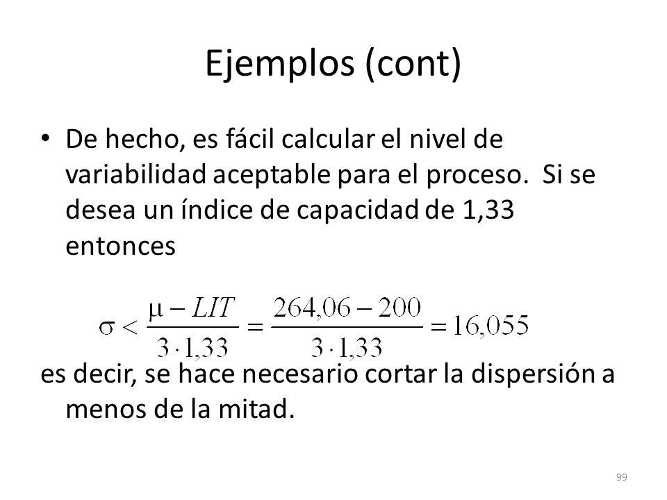 99 Ejemplos (cont) De hecho, es fácil calcular el nivel de variabilidad aceptable para el proceso. Si se desea un índice de capacidad de 1,33 entonces
