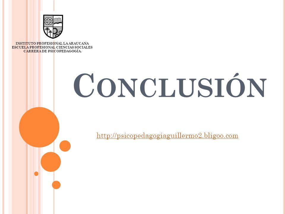 C ONCLUSIÓN INSTITUTO PROFESIONAL LA ARAUCANA ESCUELA PROFESIONAL CIENCIAS SOCIALES CARRERA DE PSICOPEDAGOGÍA. http://psicopedagogiaguillermo2.bligoo.