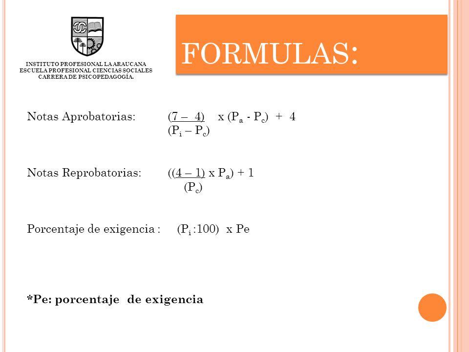FORMULAS : INSTITUTO PROFESIONAL LA ARAUCANA ESCUELA PROFESIONAL CIENCIAS SOCIALES CARRERA DE PSICOPEDAGOGÍA. Notas Aprobatorias:(7 – 4) x (P a - P c