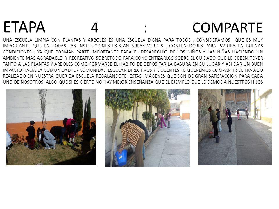 ETAPA 4 : COMPARTE UNA ESCUELA LIMPIA CON PLANTAS Y ARBOLES ES UNA ESCUELA DIGNA PARA TODOS, CONSIDERAMOS QUE ES MUY IMPORTANTE QUE EN TODAS LAS INSTI