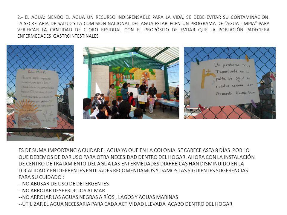 2.- EL AGUA: SIENDO EL AGUA UN RECURSO INDISPENSABLE PARA LA VIDA, SE DEBE EVITAR SU CONTAMINACIÓN. LA SECRETARIA DE SALUD Y LA COMISIÓN NACIONAL DEL