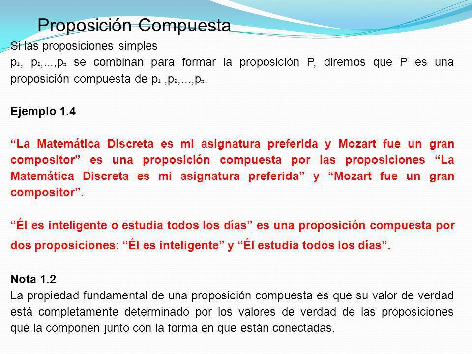 Proposición Compuesta Si las proposiciones simples p 1, p 2,...,p n se combinan para formar la proposición P, diremos que P es una proposición compues