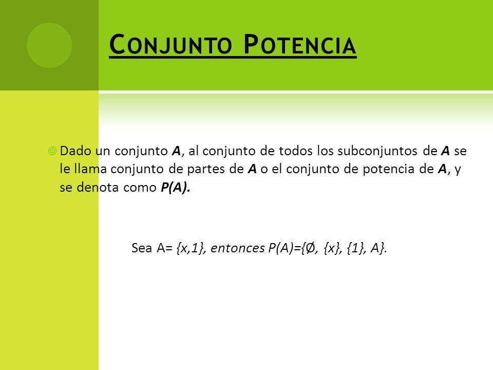 C ONJUNTO P OTENCIA Dado un conjunto A, al conjunto de todos los subconjuntos de A se le llama conjunto de partes de A o el conjunto de potencia de A, y se denota como P(A).