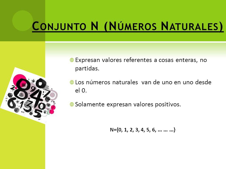 C ONJUNTO N (N ÚMEROS N ATURALES ) Expresan valores referentes a cosas enteras, no partidas.