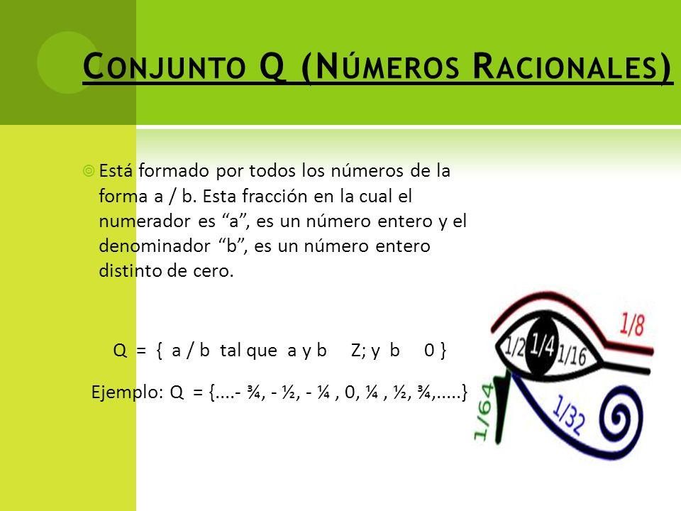 C ONJUNTO Q (N ÚMEROS R ACIONALES ) Está formado por todos los números de la forma a / b.