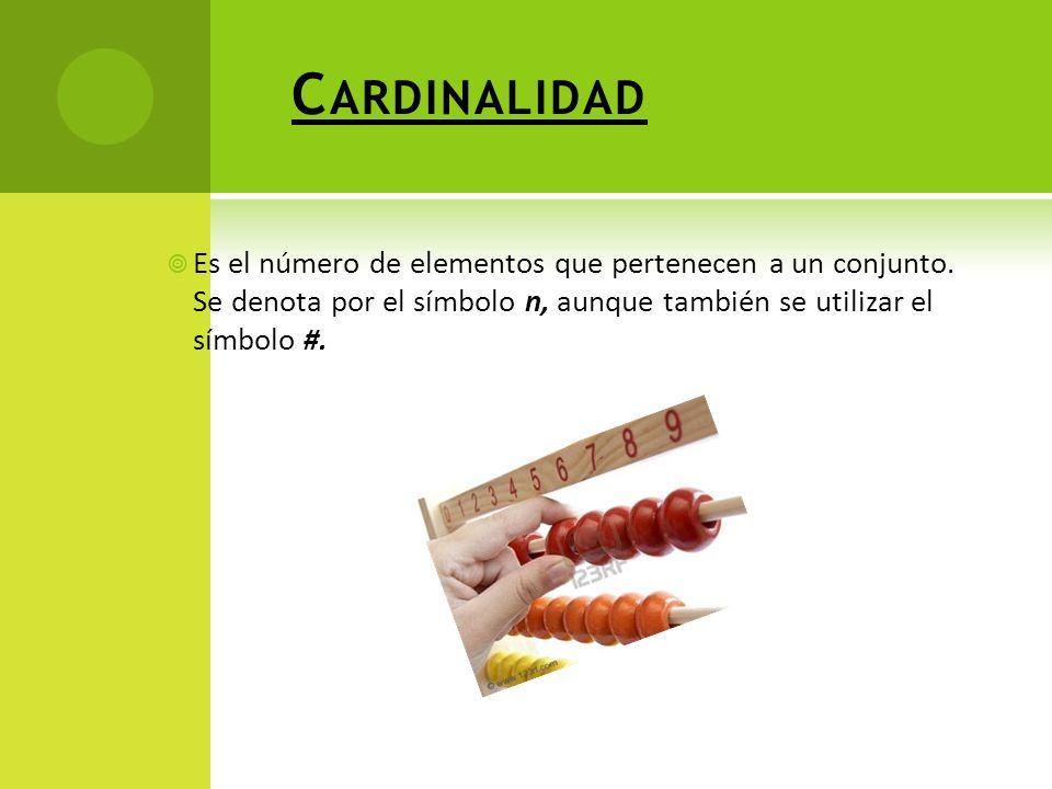 C ARDINALIDAD Es el número de elementos que pertenecen a un conjunto.