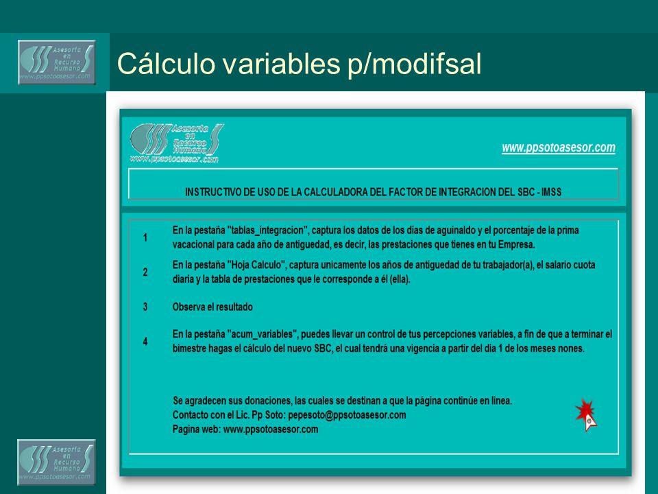 Cálculo variables p/modifsal