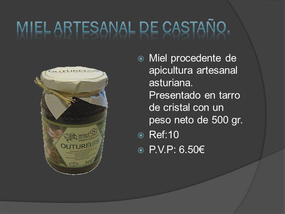 Miel procedente de apicultura artesanal asturiana. Presentado en tarro de cristal con un peso neto de 500 gr. Ref:10 P.V.P: 6.50
