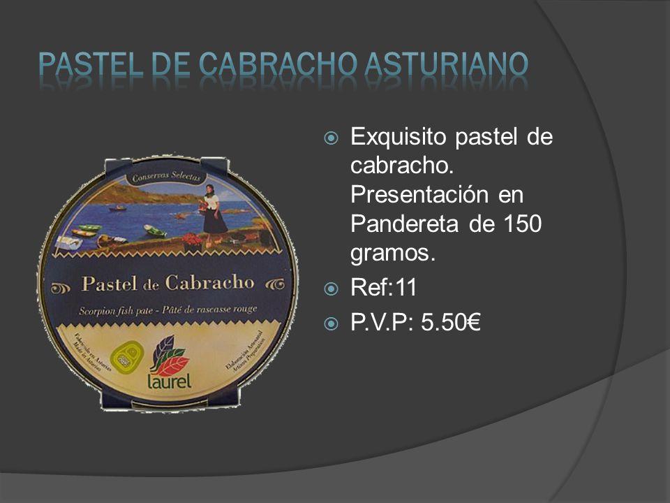 Exquisito pastel de cabracho. Presentación en Pandereta de 150 gramos. Ref:11 P.V.P: 5.50