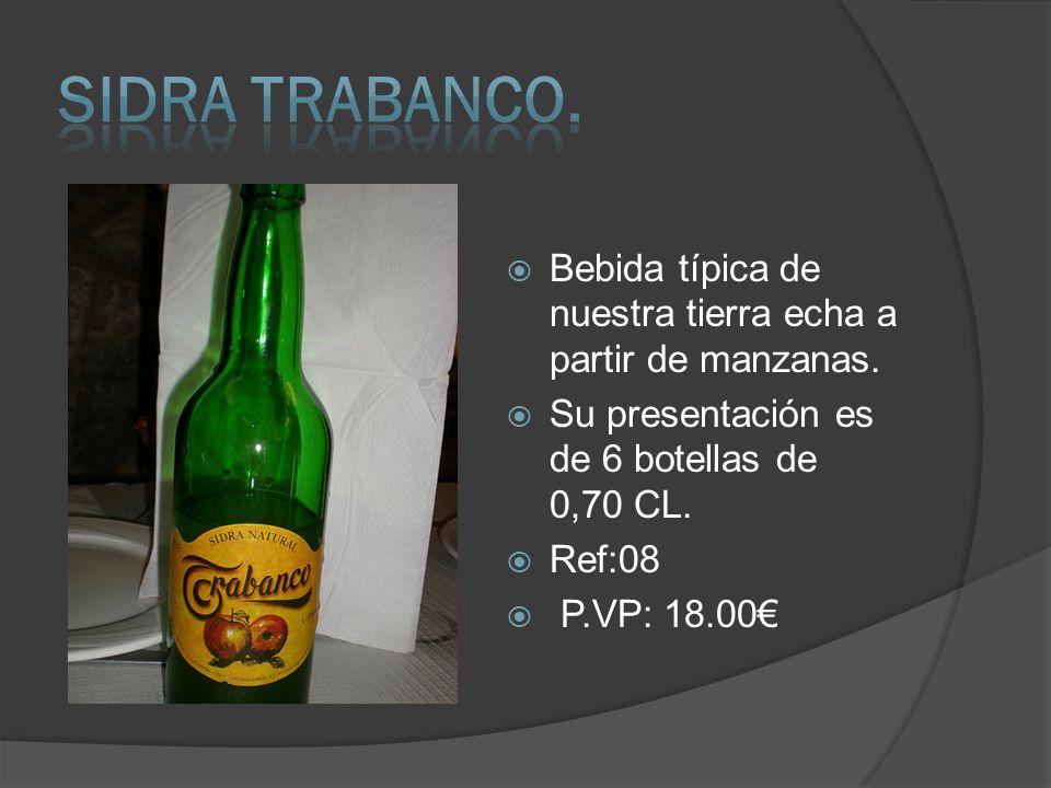 Bebida típica de nuestra tierra echa a partir de manzanas. Su presentación es de 6 botellas de 0,70 CL. Ref:08 P.VP: 18.00