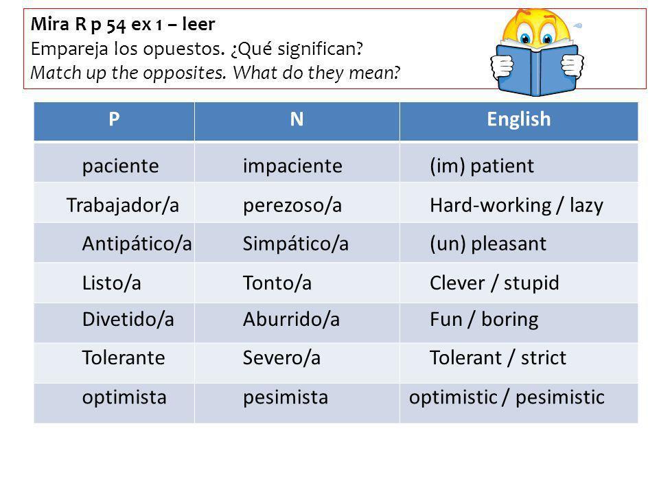 Mira R p 54 ex 1 – leer Empareja los opuestos. ¿Qué significan? Match up the opposites. What do they mean? PNEnglish pacienteimpaciente(im) patient Tr