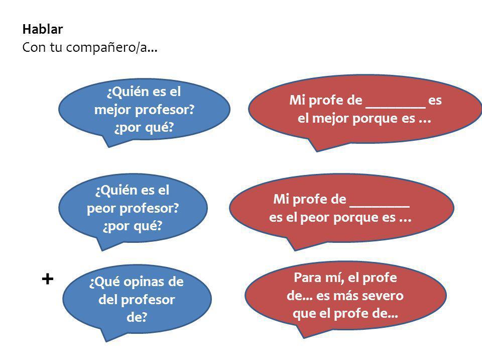 Hablar Con tu compañero/a... ¿Quién es el mejor profesor? ¿por qué? Mi profe de ________ es el mejor porque es … ¿Quién es el peor profesor? ¿por qué?