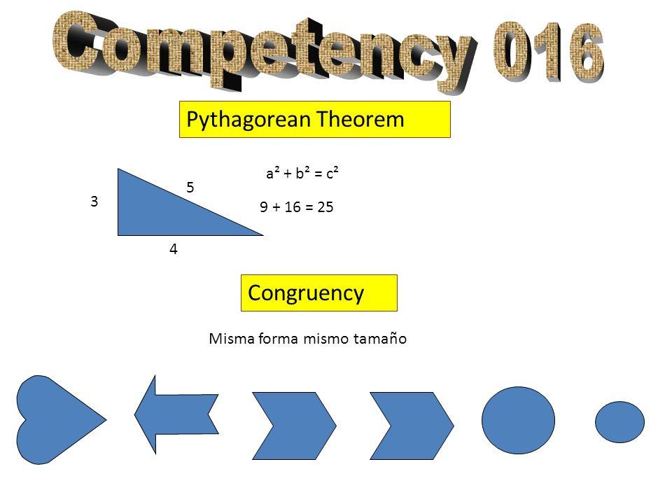 Pythagorean Theorem 3 4 5 a² + b² = c² 9 + 16 = 25 Congruency Misma forma mismo tamaño