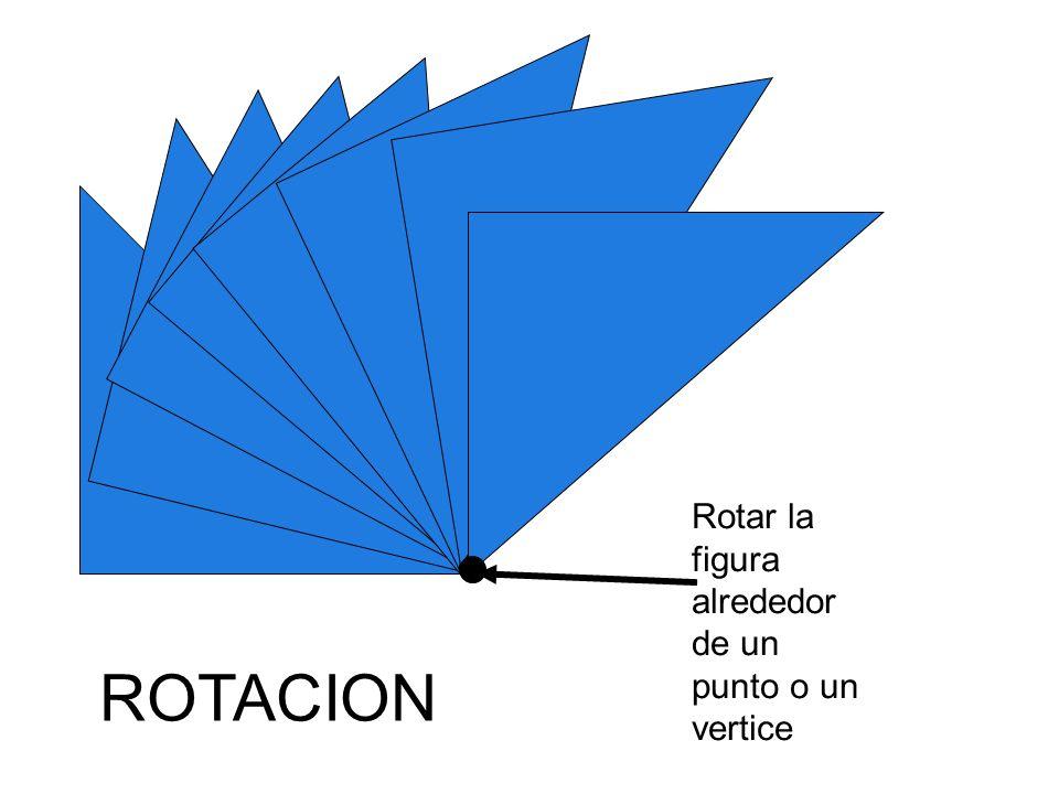 Rotar la figura alrededor de un punto o un vertice ROTACION