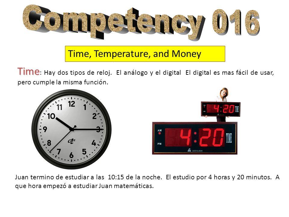 Time, Temperature, and Money Time Time : Hay dos tipos de reloj. El análogo y el digital El digital es mas fácil de usar, pero cumple la misma función