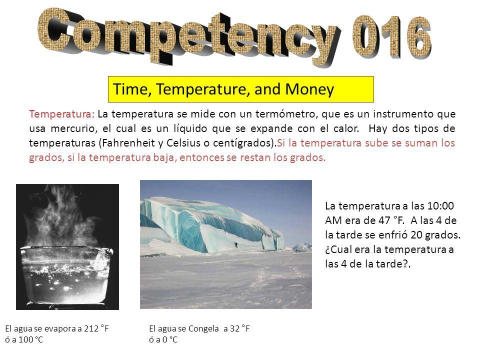 Time, Temperature, and Money Temperatura: Temperatura: La temperatura se mide con un termómetro, que es un instrumento que usa mercurio, el cual es un