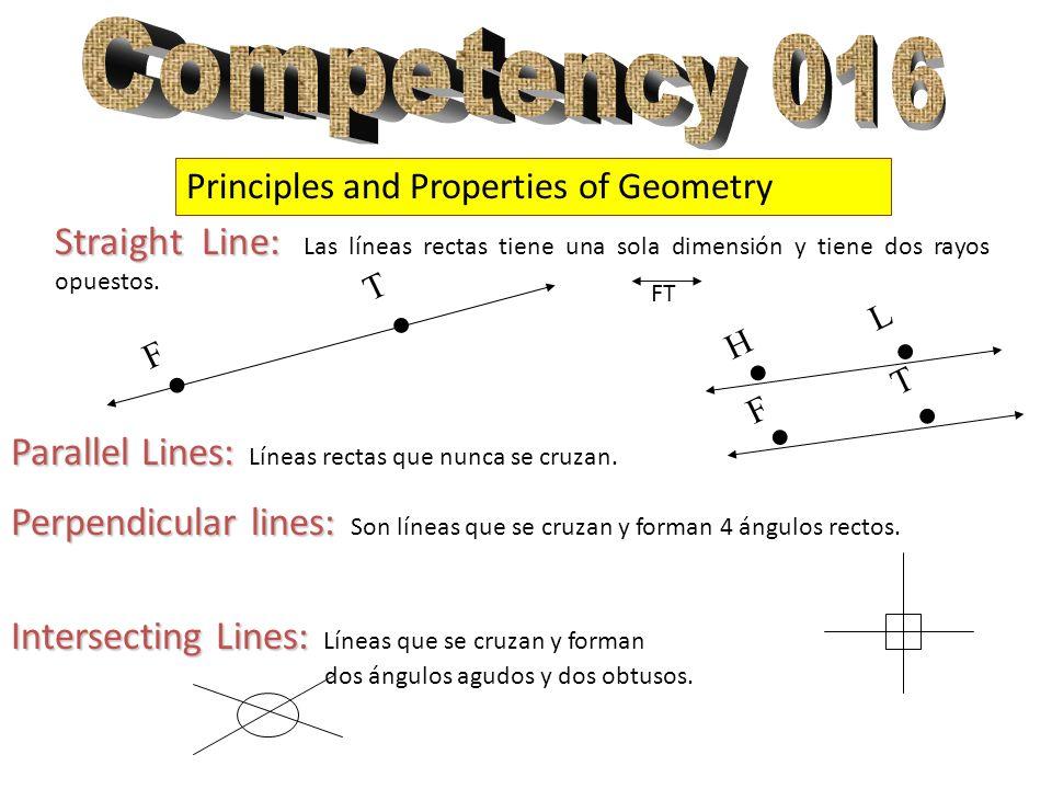 Principles and Properties of Geometry Straight Line: Straight Line: Las líneas rectas tiene una sola dimensión y tiene dos rayos opuestos... T F FT Pa