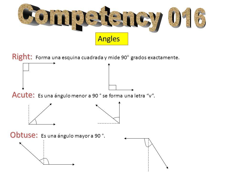 Angles Right: Right: Forma una esquina cuadrada y mide 90° grados exactamente. Acute: Acute: Es una ángulo menor a 90 ° se forma una letra v. Obtuse: