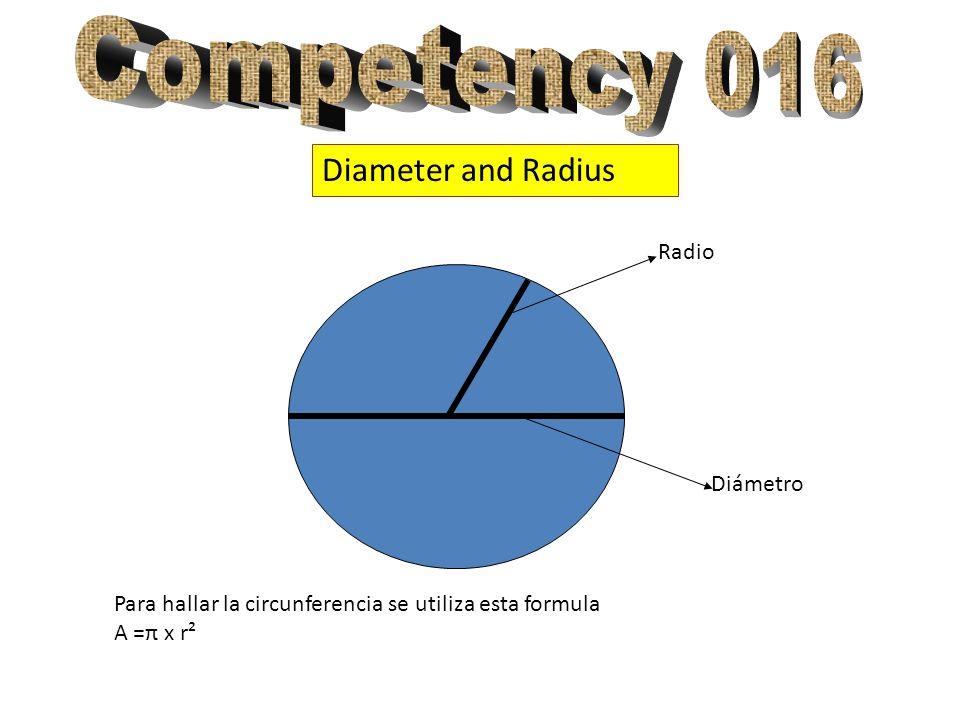 Diameter and Radius Radio Diámetro Para hallar la circunferencia se utiliza esta formula A =π x r²
