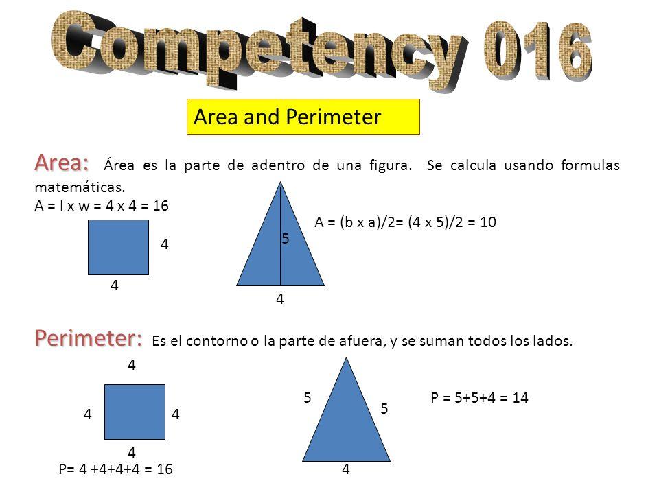 Area and Perimeter Area: Area: Área es la parte de adentro de una figura. Se calcula usando formulas matemáticas. Perimeter: Perimeter: Es el contorno