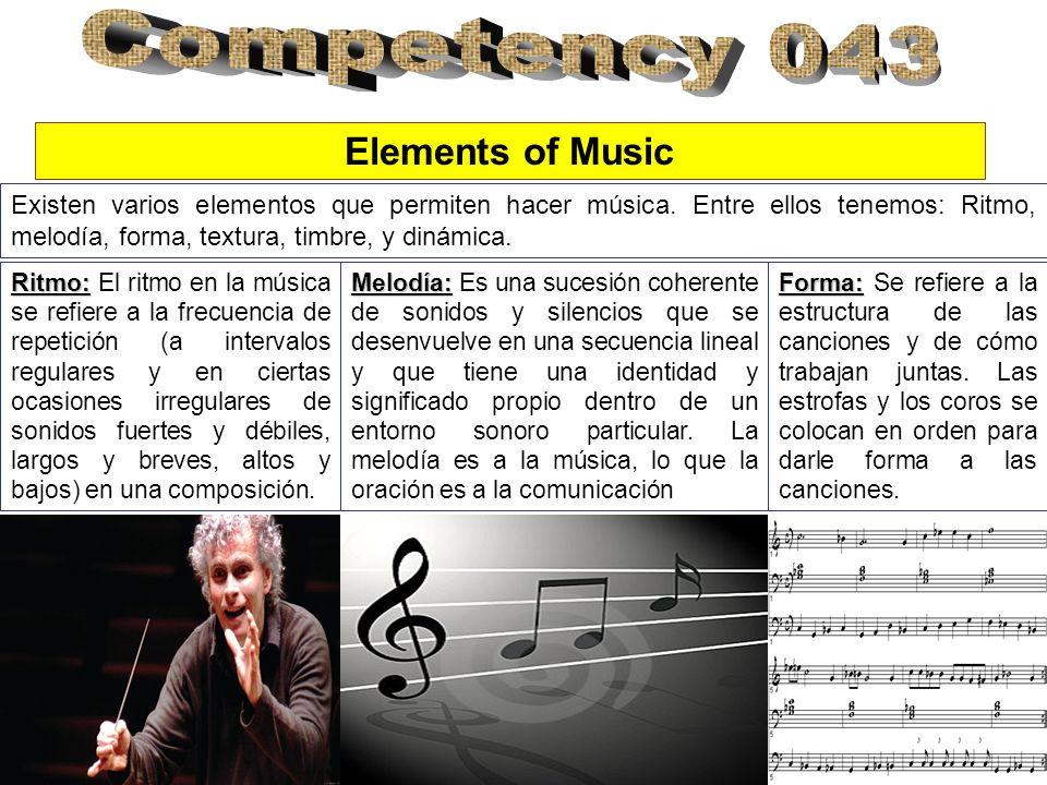 Existen varios elementos que permiten hacer música. Entre ellos tenemos: Ritmo, melodía, forma, textura, timbre, y dinámica. Elements of Music Ritmo: