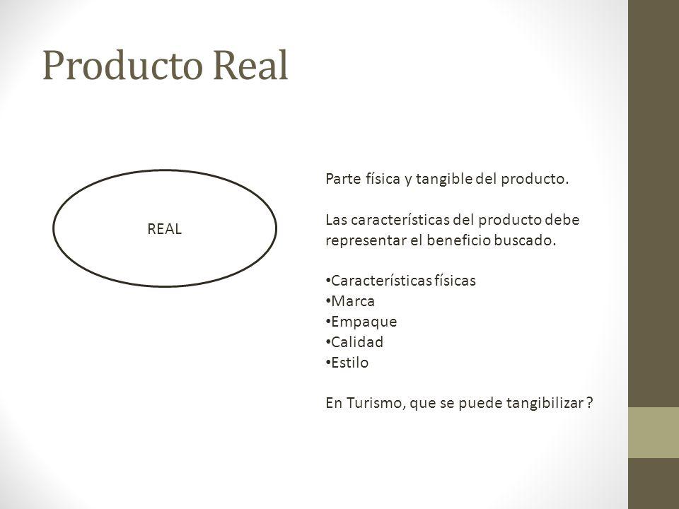 Producto Real REAL Parte física y tangible del producto. Las características del producto debe representar el beneficio buscado. Características físic