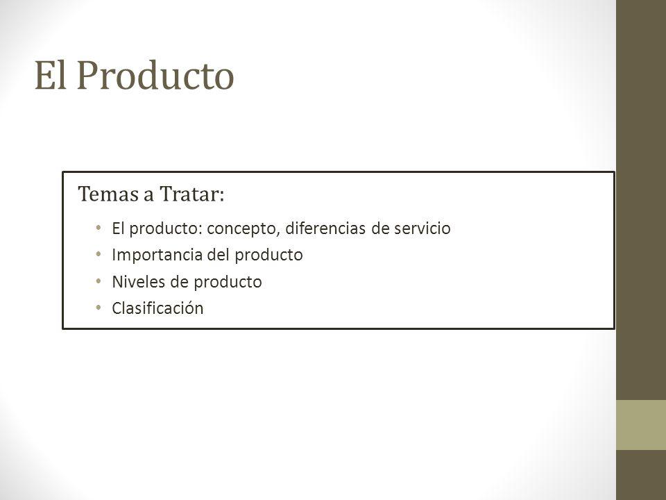 Producto Es la oferta con que una empresa busca satisfacer una necesidad.