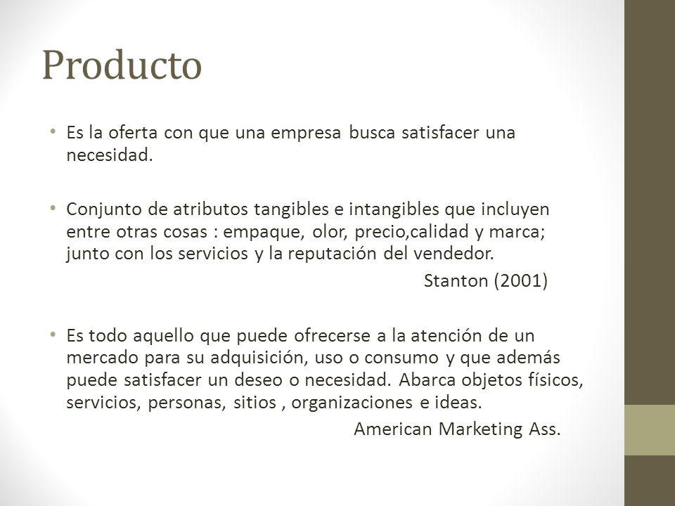 Producto Es la oferta con que una empresa busca satisfacer una necesidad. Conjunto de atributos tangibles e intangibles que incluyen entre otras cosas