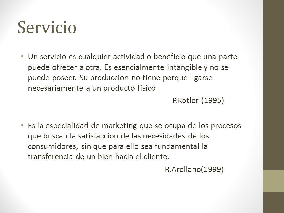 Servicio Un servicio es cualquier actividad o beneficio que una parte puede ofrecer a otra. Es esencialmente intangible y no se puede poseer. Su produ
