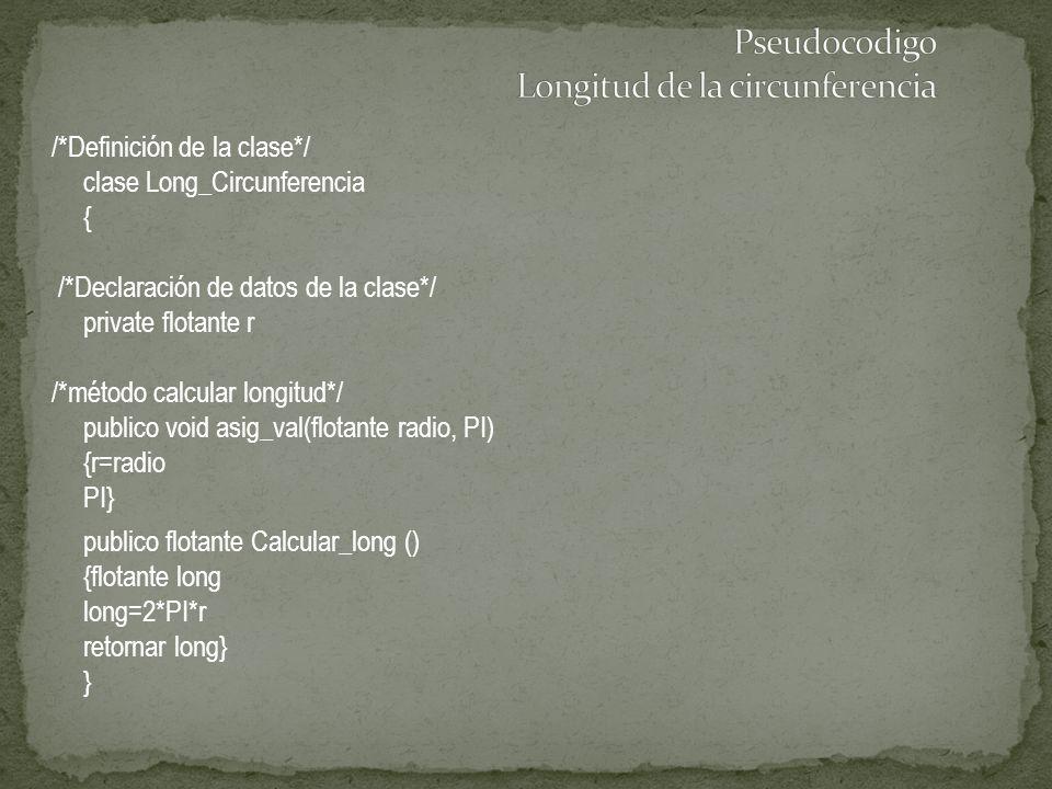 /*Definición de la clase*/ clase Long_Circunferencia { /*Declaración de datos de la clase*/ private flotante r /*método calcular longitud*/ publico vo