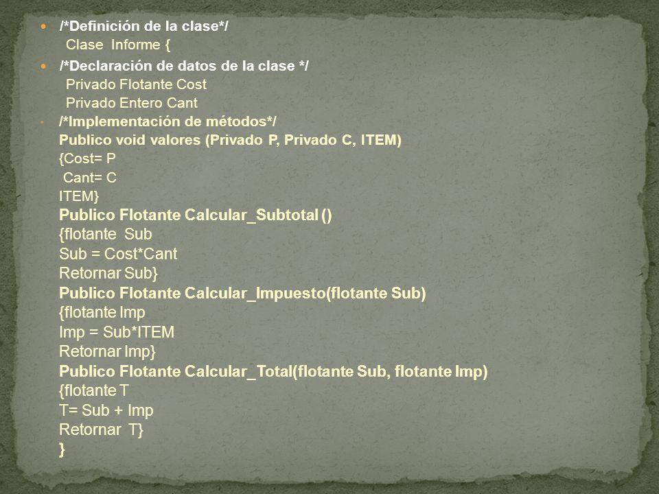 /*Definición de la clase*/ Clase Informe { /*Declaración de datos de la clase */ Privado Flotante Cost Privado Entero Cant /*Implementación de métodos