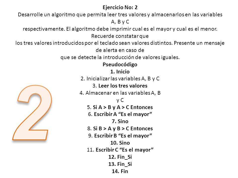 Ejercicio No: 2 Desarrolle un algoritmo que permita leer tres valores y almacenarlos en las variables A, B y C respectivamente. El algoritmo debe impr