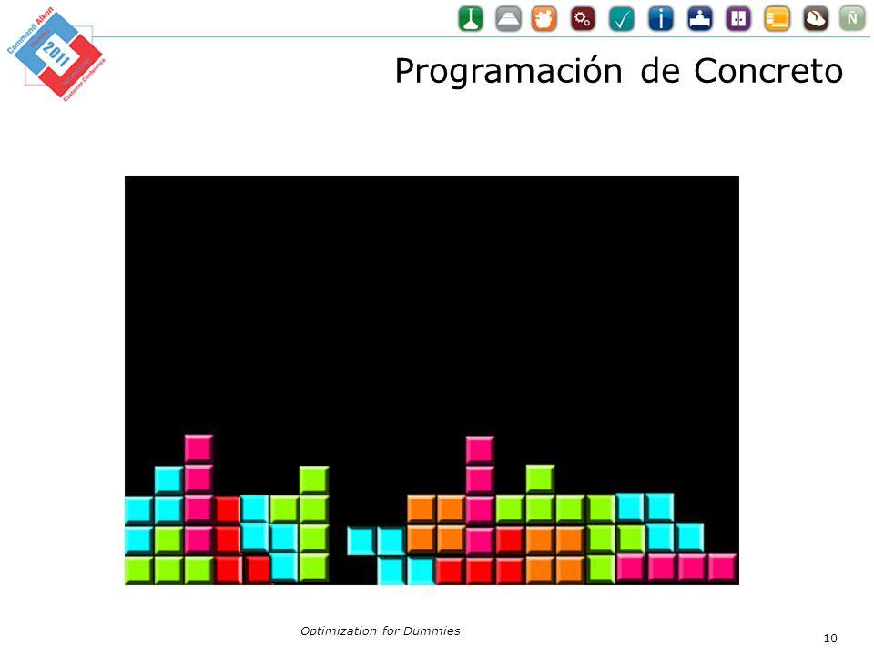 Optimization for Dummies 10 Programación de Concreto