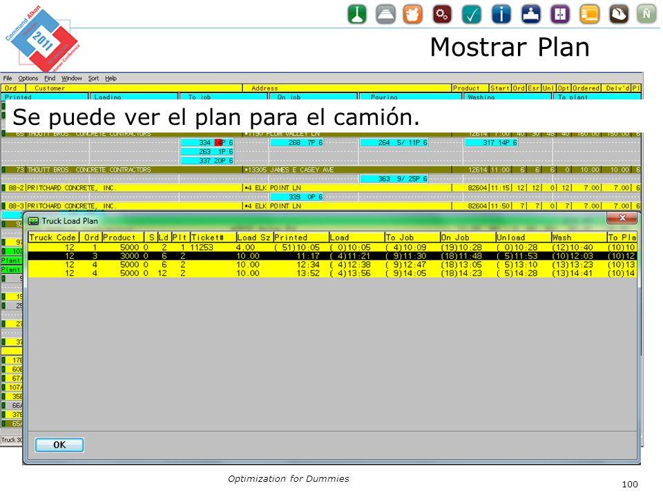 Optimization for Dummies 100 Mostrar Plan Se puede ver el plan para el camión.