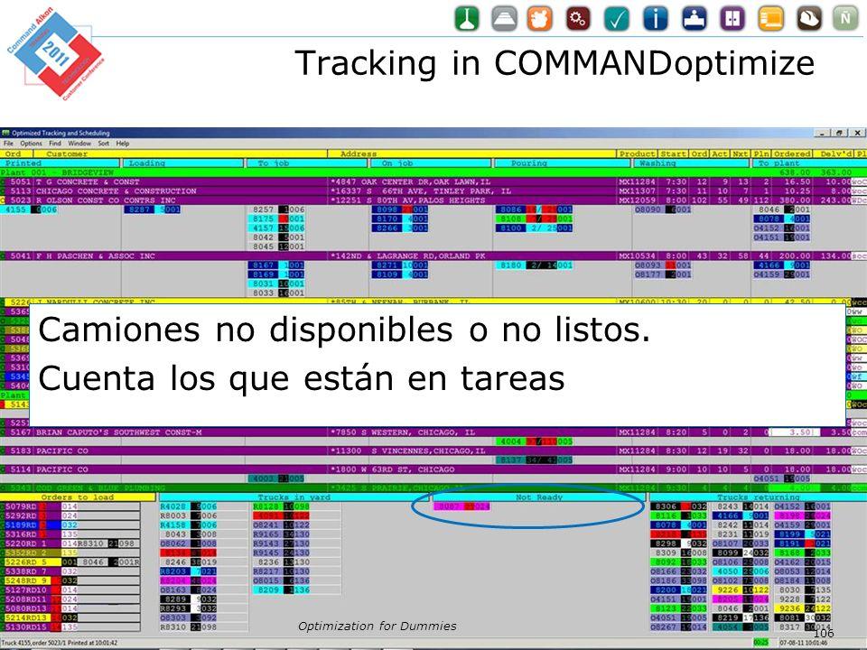 Tracking in COMMANDoptimize Optimization for Dummies 106 Camiones no disponibles o no listos. Cuenta los que están en tareas