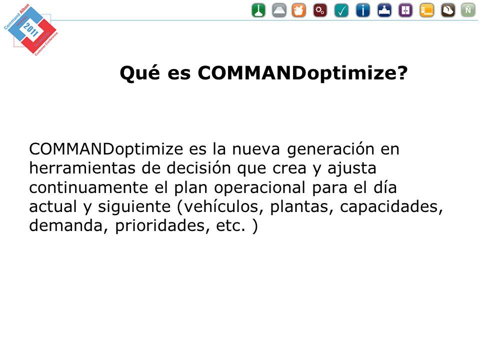 Qué es COMMANDoptimize? COMMANDoptimize es la nueva generación en herramientas de decisión que crea y ajusta continuamente el plan operacional para el