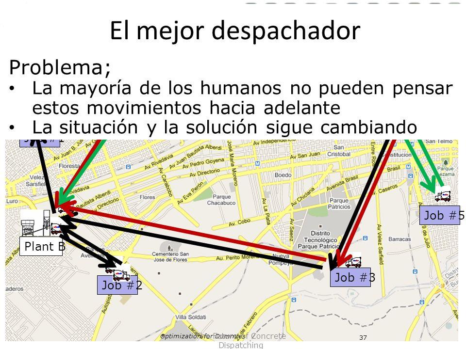 Plant A Plant B Job #1 Job #2 Job #3 Job #4 Job #5 Optimization for Dummies 37 The Future of Concrete Dispatching Problema; La mayoría de los humanos