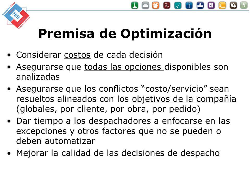 Premisa de Optimización Considerar costos de cada decisión Asegurarse que todas las opciones disponibles son analizadas Asegurarse que los conflictos