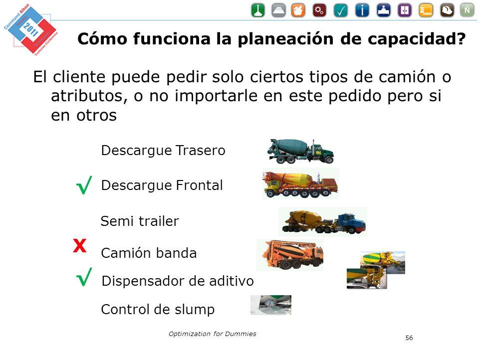 Cómo funciona la planeación de capacidad? El cliente puede pedir solo ciertos tipos de camión o atributos, o no importarle en este pedido pero si en o