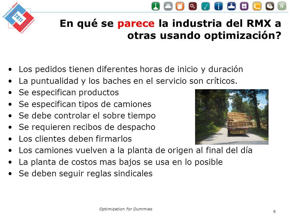 En qué se parece la industria del RMX a otras usando optimización? Los pedidos tienen diferentes horas de inicio y duración La puntualidad y los bache