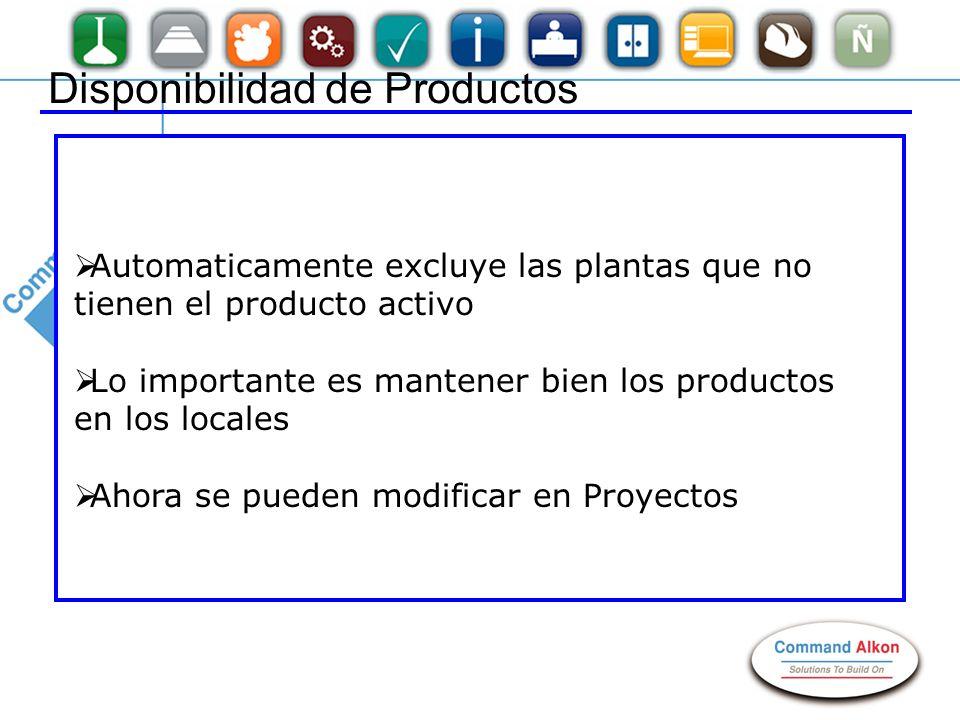 Disponibilidad de Productos Automaticamente excluye las plantas que no tienen el producto activo Lo importante es mantener bien los productos en los l