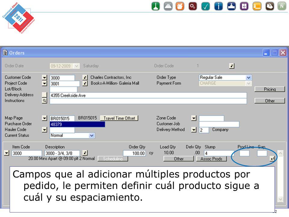 Optimization for Dummies 62 Campos que al adicionar múltiples productos por pedido, le permiten definir cuál producto sigue a cuál y su espaciamiento.
