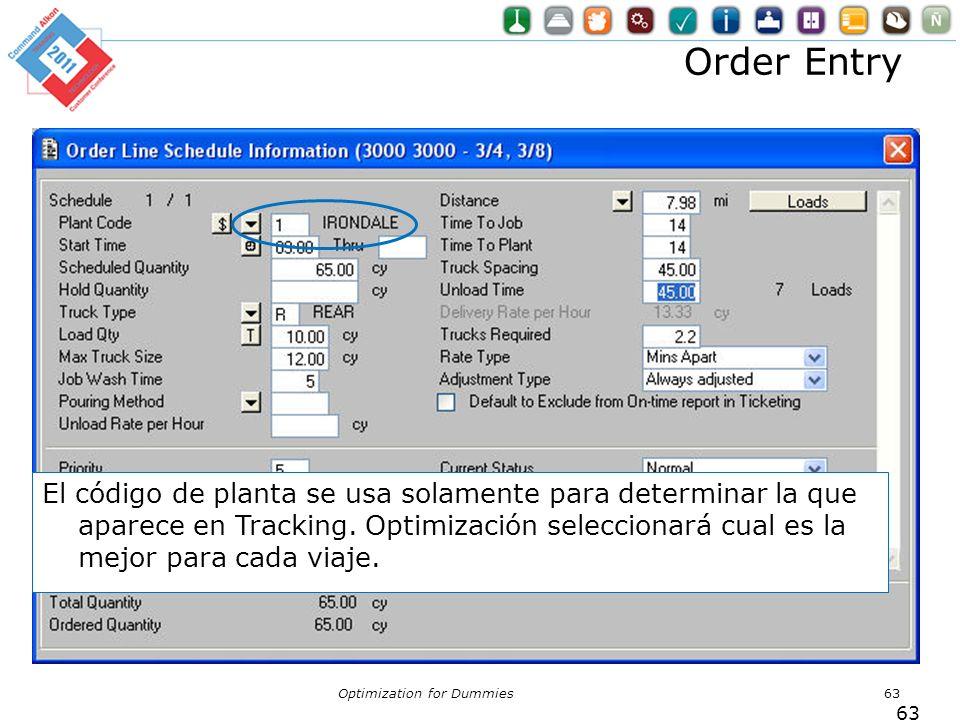 Order Entry Optimization for Dummies63 El código de planta se usa solamente para determinar la que aparece en Tracking. Optimización seleccionará cual