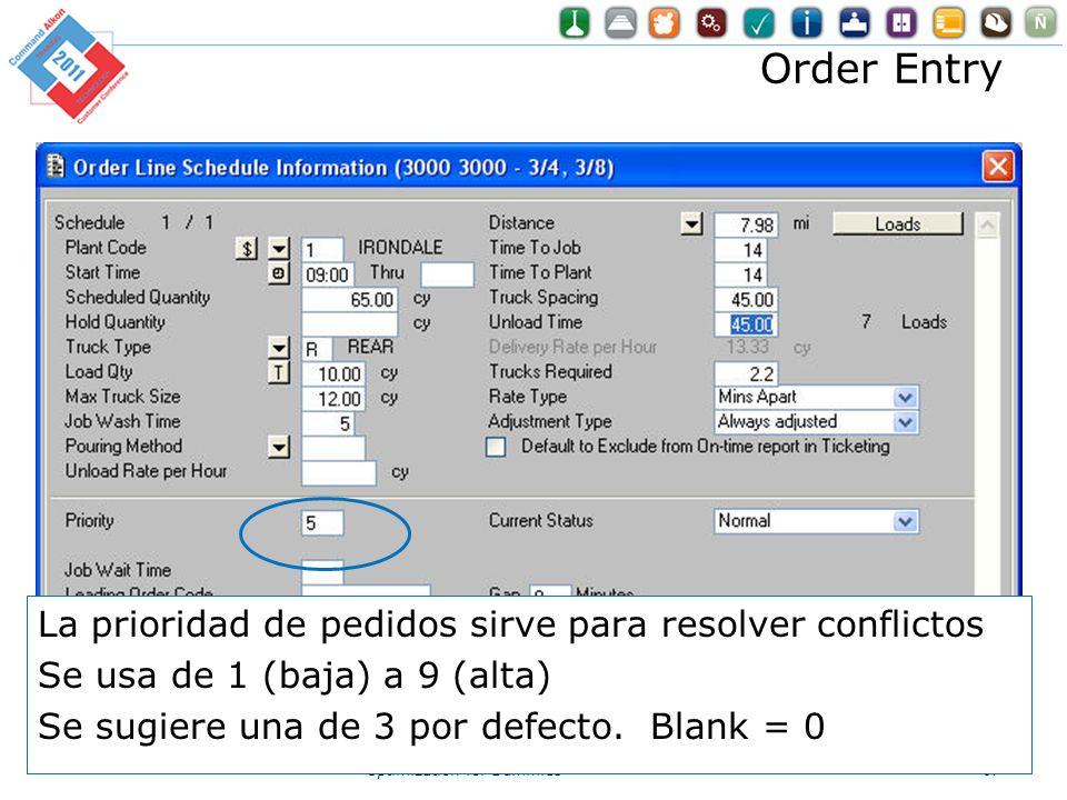 Order Entry Optimization for Dummies67 La prioridad de pedidos sirve para resolver conflictos Se usa de 1 (baja) a 9 (alta) Se sugiere una de 3 por de