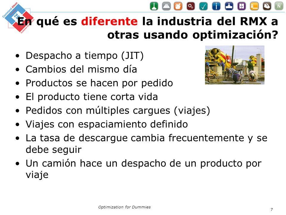 En qué es diferente la industria del RMX a otras usando optimización? Despacho a tiempo (JIT) Cambios del mismo día Productos se hacen por pedido El p